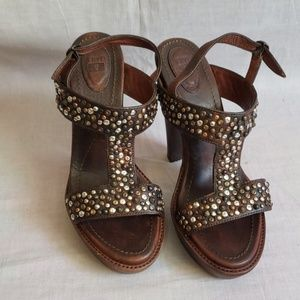 FRYE Sandals Brown Size 8.5 M Leather Heels 5.5""
